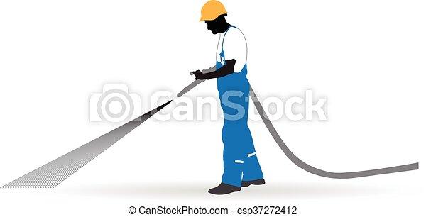 worker sprayed a hose under pressure - csp37272412