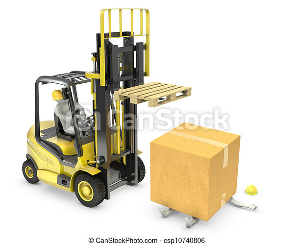 Worker was hit by cardboard falling from lift truck fork - csp10740806