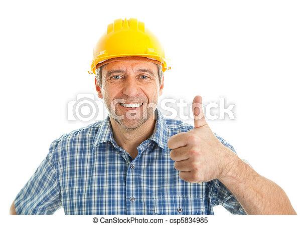 Worker wearing hard hat - csp5834985