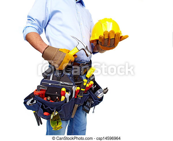 Worker with a tool belt. Construction. - csp14596964