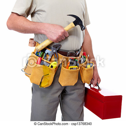 Worker with a tool belt. - csp13768340