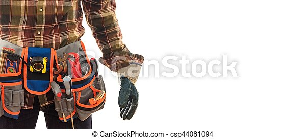 Worker with a tool belt - csp44081094