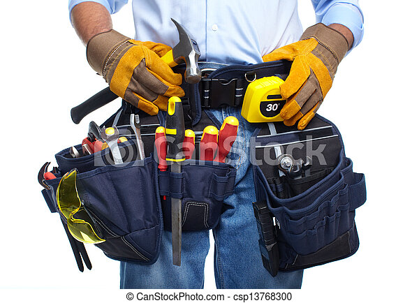 Worker with a tool belt. - csp13768300