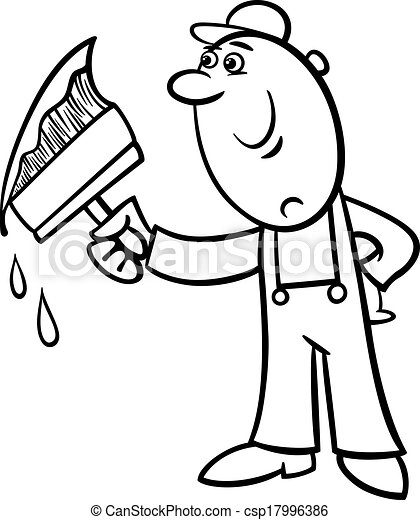 Vector of worker with brush coloring page - Black and White ...