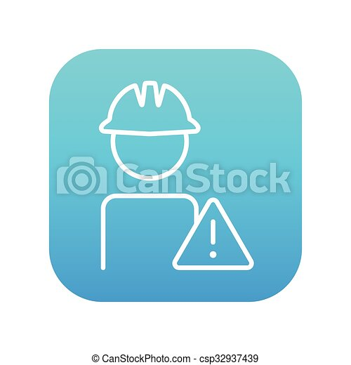 Worker with caution sign line icon. - csp32937439