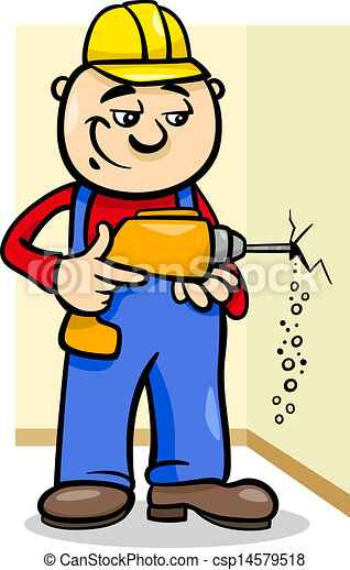 worker with drill cartoon illustration - csp14579518