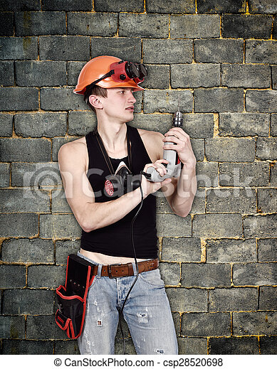 worker with drill - csp28520698