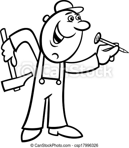 worker with nail coloring page - csp17996326