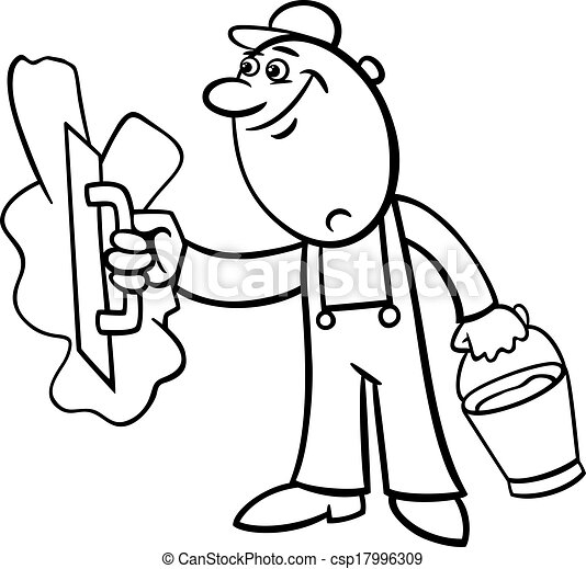 worker with plaster coloring page - csp17996309