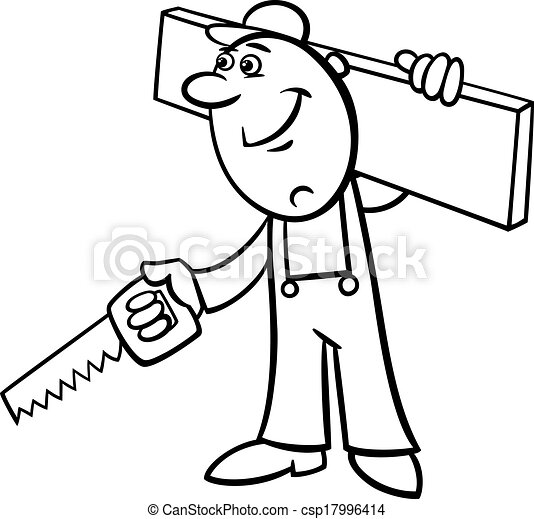 worker with saw coloring page - csp17996414