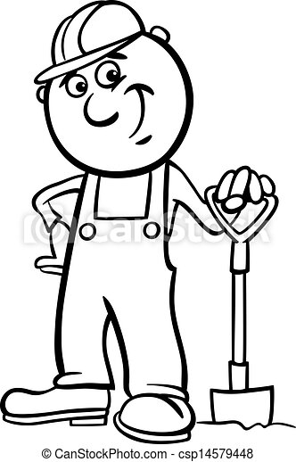 worker with spade coloring page - csp14579448