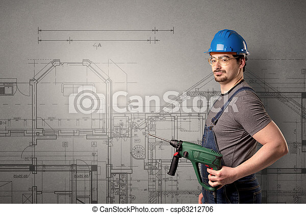 Worker with technical drawing. - csp63212706