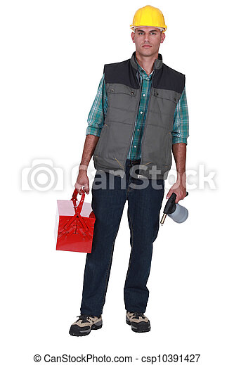 Worker with toolbox and Jug - csp10391427