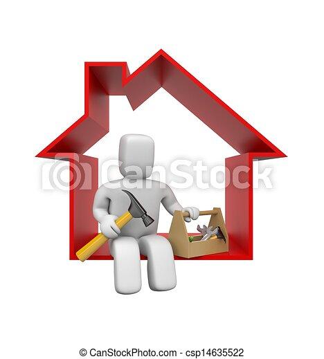 Worker with tools. DIY metaphors - csp14635522
