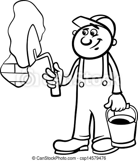 worker with trowel coloring page - csp14579476
