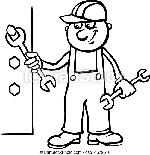 worker with wrench coloring page - csp14579516