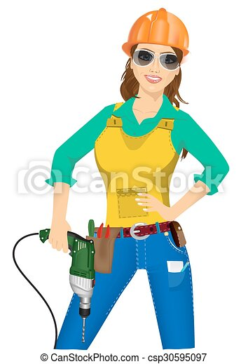 e758a426e6d Portrait of worker woman with drill isolated over white background .