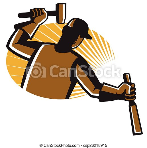 Worker_carving-chisel-hammer. Vector illustration of ...