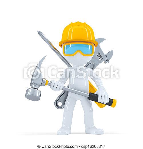 worker/builder, construction, hammer. - csp16288317
