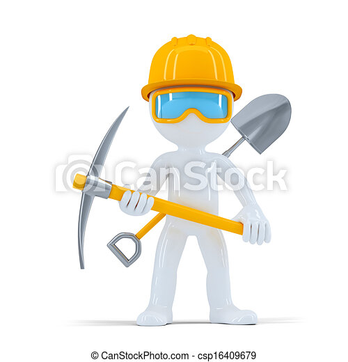 worker/builder, gai, poser, construction, outils - csp16409679