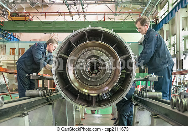 Workers assembly aviation engine - csp21116731