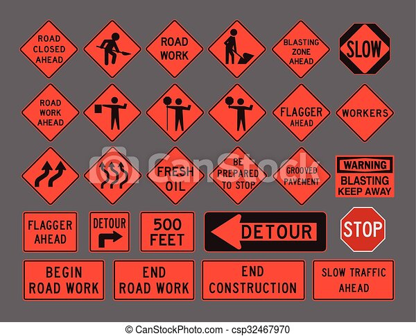 Workers road signs - csp32467970