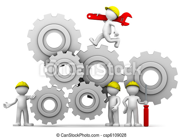Workers team with gear mechanism - csp6109028