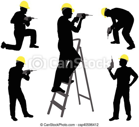 workers with drill silhouettes - csp40596412