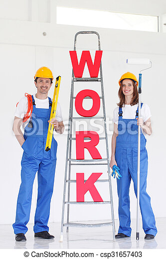 Workers with WORK letters - csp31657403
