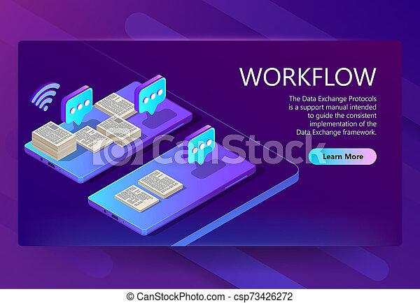 La plantilla de un sitio 3D con flujo de trabajo - csp73426272