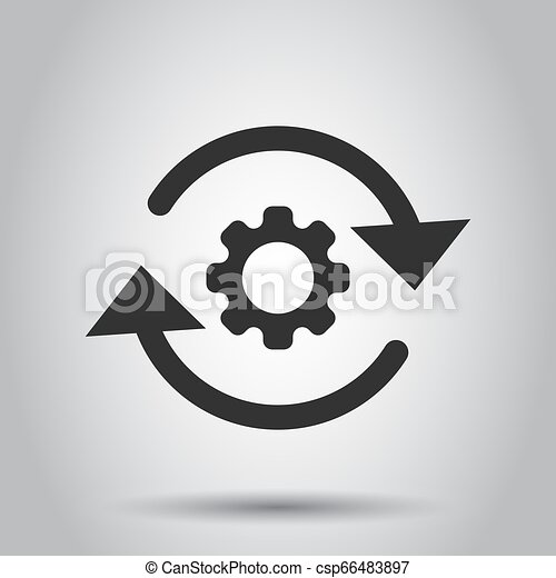 Workflow process icon in flat style. Gear cog wheel with arrows vector illustration on white background. Workflow business concept. - csp66483897