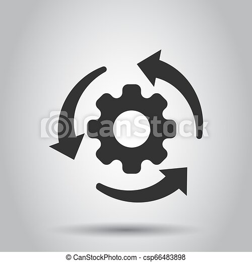 Workflow process icon in flat style. Gear cog wheel with arrows vector illustration on white background. Workflow business concept. - csp66483898