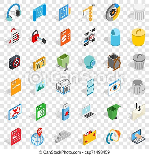 Working file icons set, isometric style - csp71493459
