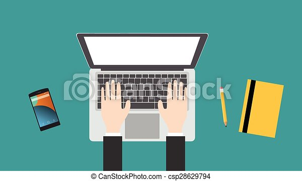 working in a laptop - csp28629794