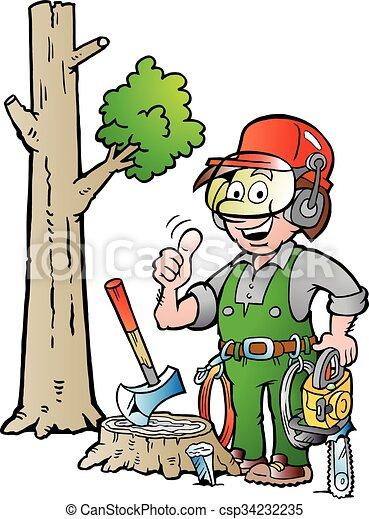 Working Lumberjack or Woodcutter  - csp34232235