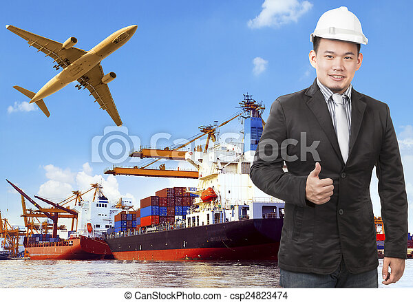 working man and commercial ship on port and air cargo plane flyi - csp24823474