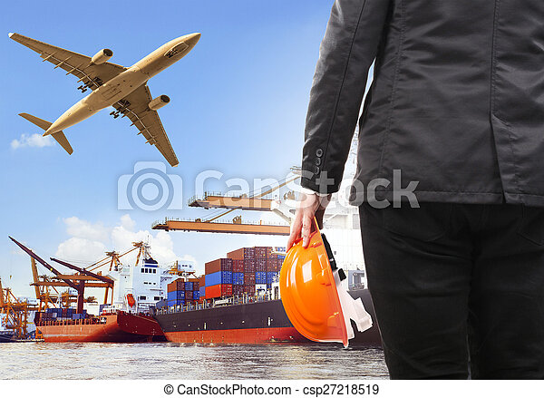 working man and commercial ship on port and air cargo plane flyi - csp27218519