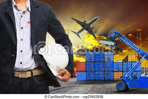 working man and container dock in land ,air cargo logistic freig - csp23653936