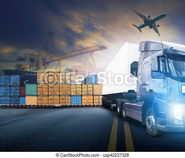 working man and container truck ,ship in port and freight cargo plane in transport and import-export commercial logistic ,shipping business industry - csp42237328