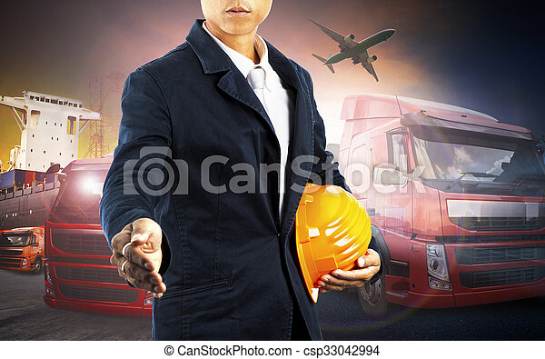 working man and container truck ,ship in port and freight cargo plane in transport and import-export commercial logistic ,shipping business industry  - csp33042994