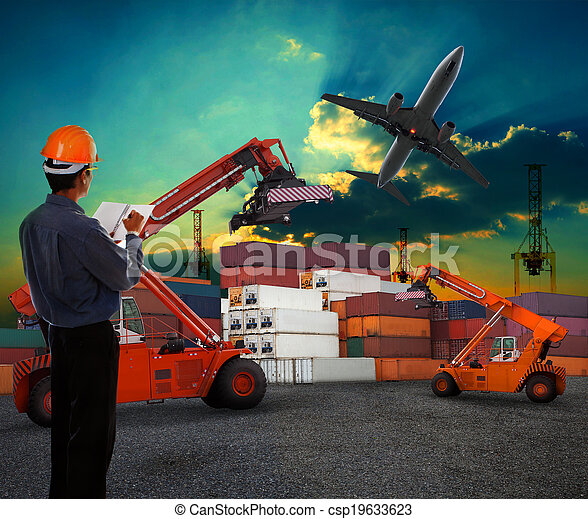 working man in logistic business working in container shipping yard with dusky sky and jet plane cargo flying above use for land to air transport and freight - csp19633623