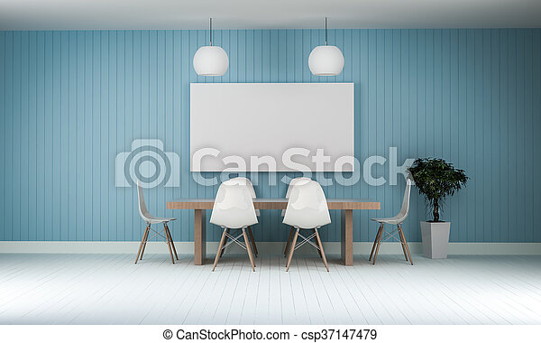 working meeting room with white photo frame wood floor 3d rendering - csp37147479