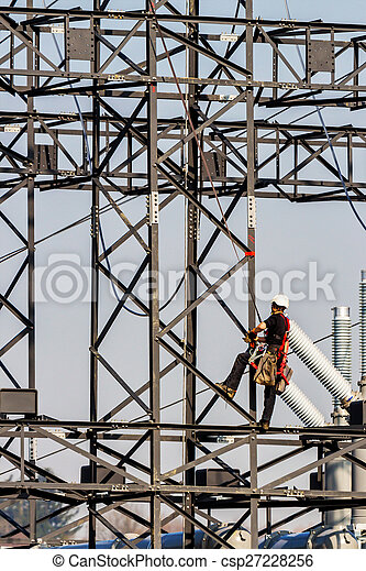 working on a power poles - csp27228256