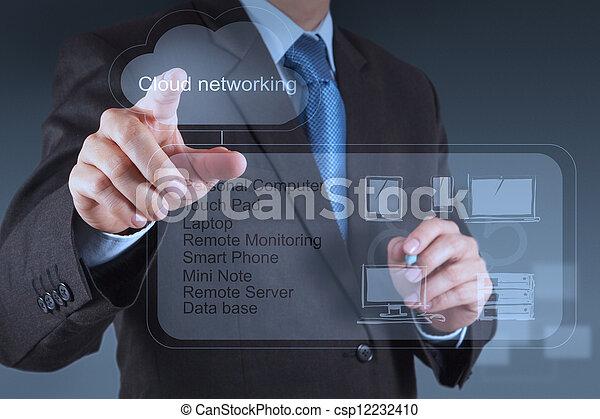 working on modern technology business - csp12232410