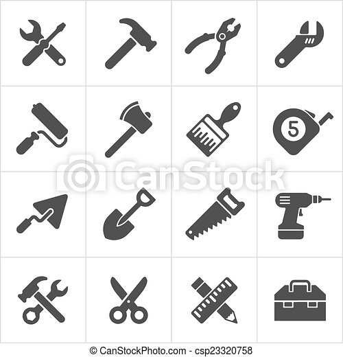 Working Tool and instrument icons white. Vector - csp23320758