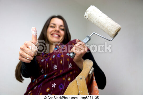 Working woman with white thumb up - csp8371135