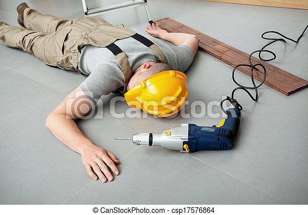 Workman injured at work - csp17576864