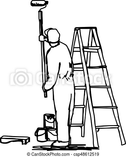 Workman Painting The Wall With A Roller With Ladder Vector Illustration Sketch Hand Drawn With Black Lines Isolated On White Background