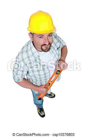 Workman with a spirit level - csp10376803