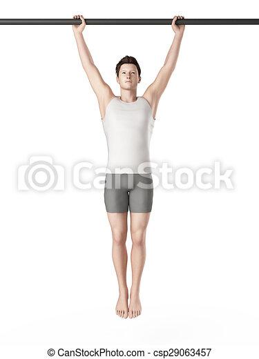 workout - hanging leg raises - csp29063457